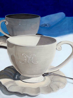 Cups Of Coffee In A Quiet Room Print by Karyn Robinson