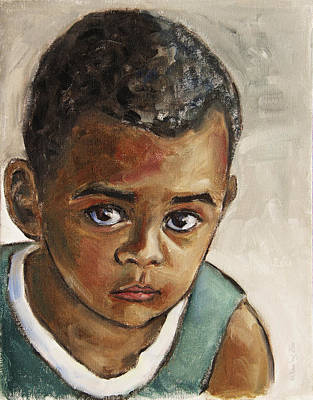 African American Painting - Curious Little Boy by Xueling Zou