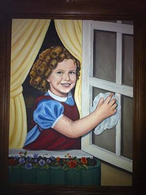 Shirley Temple Painting - Curly Top Cleaning The Window by Wendy Kerry