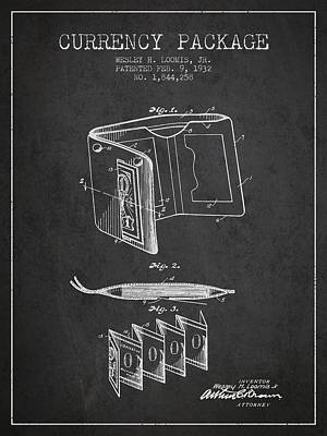 Currency Package Patent From 1932 - Charcoal Print by Aged Pixel