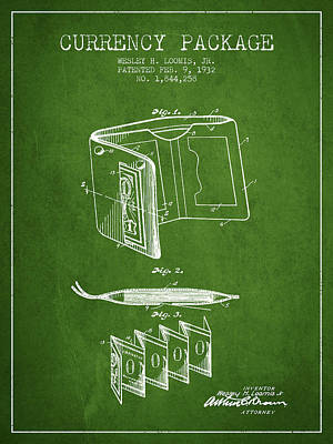 Currency Package Patent From 1932 - Green Print by Aged Pixel