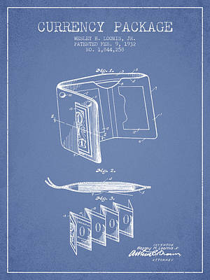Currency Package Patent From 1932 - Light Blue Print by Aged Pixel