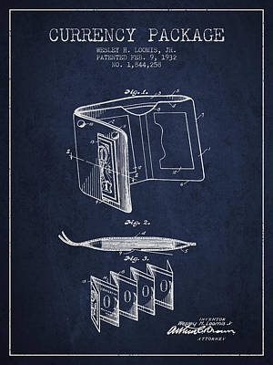 Currency Package Patent From 1932 - Navy Blue Print by Aged Pixel