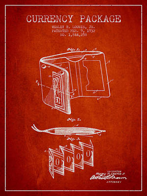 Currency Package Patent From 1932 - Red Print by Aged Pixel