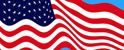 Current American Flag Cropped X 2 Wide Print by L Brown