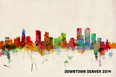Denver Digital Art - Custom Denver Skyline by Michael Tompsett