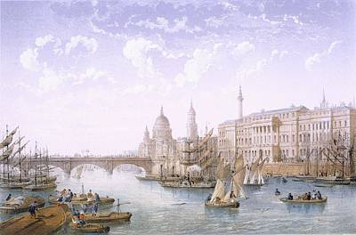Capital Cities Drawing - Custom House And London Bridge, 1862 by Achille-Louis Martinet