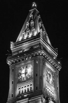 Custom House Tower Print featuring the photograph Custom House In Boston Black And White by John McGraw