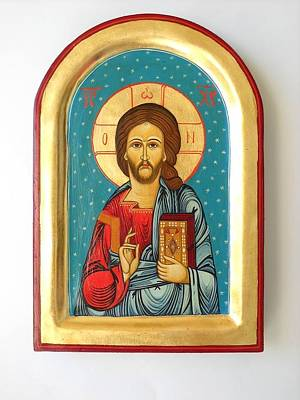 Iconography Mixed Media - Custom Jesus Christ Pantokrator Hand Painted Byzantine Icon Christian Art First Communion Gift  by Denise ClemencoIcons
