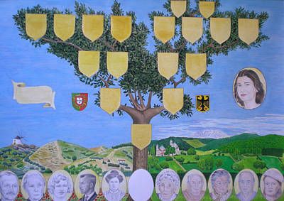 Genealogy Drawing - Customized Family Tree Chart Two Nations by Alix Mordant