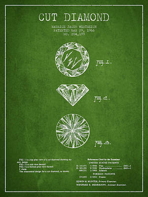 Gemstones Drawing - Cut Diamond Patent From 1966 - Green by Aged Pixel