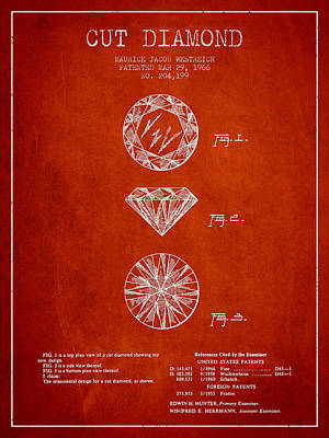 Gemstones Drawing - Cut Diamond Patent From 1966 - Red by Aged Pixel