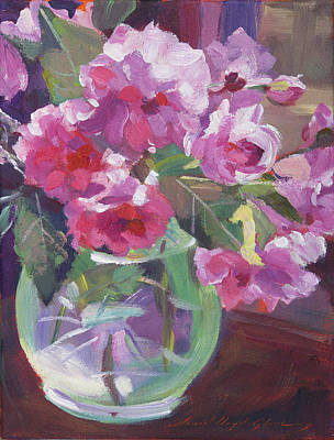 Cut Flowers Painting - Cut Flowers In Glass by David Lloyd Glover