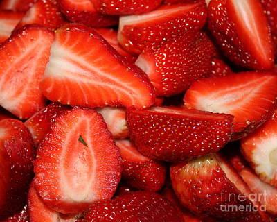 Cut Strawberries Print by Carol Groenen