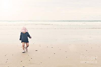 2 Solitudes Photograph - Cute Baby On Beach by Justin Paget