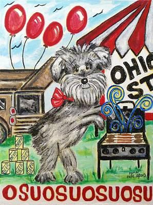 Osu Tailgating Dog Print by Diane Pape