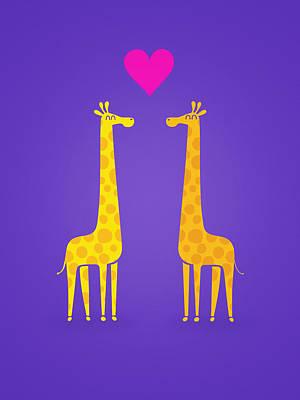 Giraffe Digital Art - Cute Cartoon Giraffe Couple In Love Purple Edition by Philipp Rietz