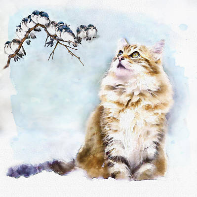 Digital Mixed Media - Cute Cat On The Lurk by Marian Voicu