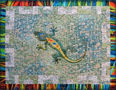 Salamanders Mixed Media - Cute Gecko by Ruta Naujokiene