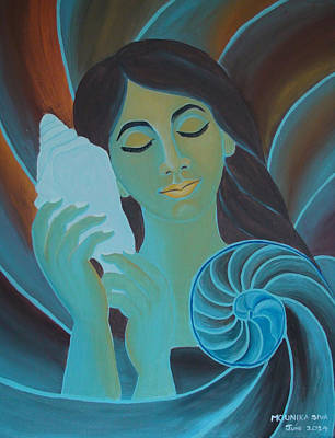Merging Painting - Cute Girl Listening To The Pleasant Music From Shankh by Mounika Narreddy