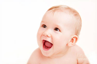 Playing Photograph - Cute Happy Baby Laughing On White by Michal Bednarek