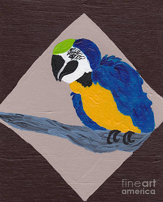 Macaw Art Painting - Cute Little Macaw  by Melissa Vijay Bharwani