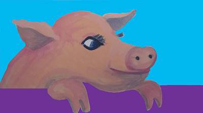 Cute Pig 1 Print by Cherie Sexsmith