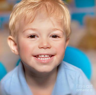 Cute Smiling Boy Print by Anna Omelchenko