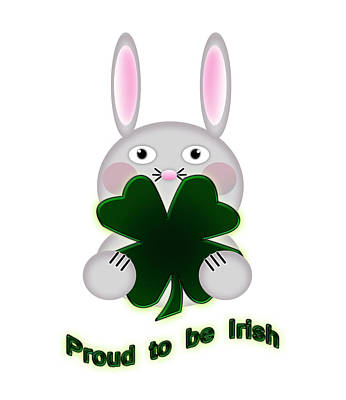Adorable Digital Art - Cute St. Patricks Day Bunny Proud To Be Irish by Shelley Neff