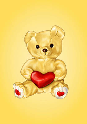 Teddy Bear Digital Art - Cute Teddy Bear Hypnotist by Boriana Giormova
