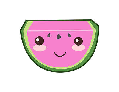 Cute Watermelon Illustration Print by Pati Photography