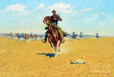 U.s Army Painting - Cutting Out Pony Herds by Pg Reproductions
