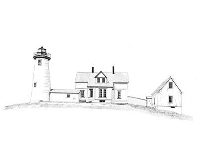 Buzzard Drawing - Cuttyhunk Island Lighthouse by Marci Mongelli