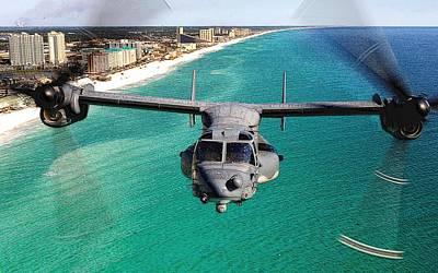 Osprey Mixed Media - Cv 22 Osprey 8th Special Operations Over Emerald Coast Florida by Senior Airman Julianne Showalter - L Brown