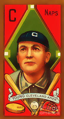 Cy Young Photograph - Cy Young Cleveland Naps Baseball Card 0838 by Wingsdomain Art and Photography