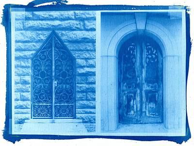 Printmaking Photograph - Cyanotype Crypt Doors by Jane Linders