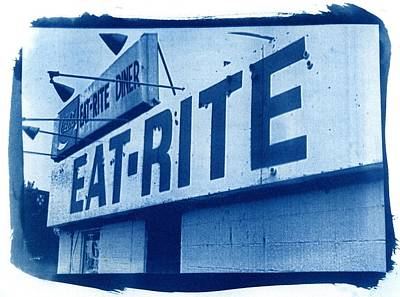 Cyanotype Eat Rite Diner Print by Jane Linders