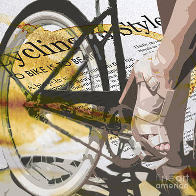 Stained Digital Art - Cycle Chic by Sassan Filsoof