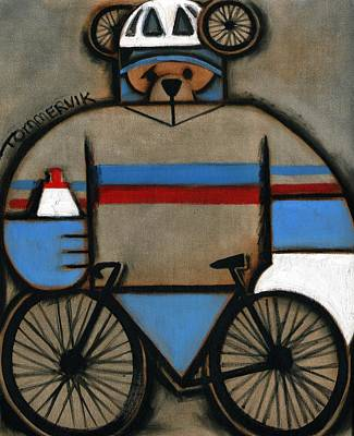 Bears Painting - Cycling Bear Art Print by Tommervik