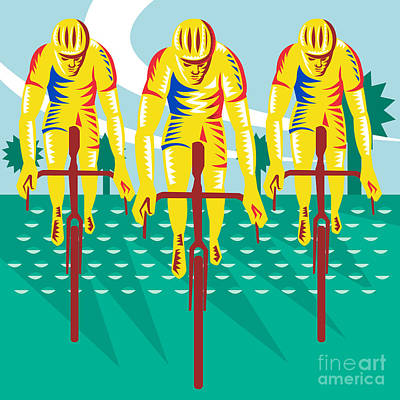 Woodcut Digital Art - Cyclist Riding Bicycle Cycling Retro by Aloysius Patrimonio