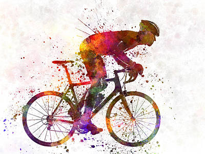 Cyclist Painting - Cyclist Road Bicycle by Pablo Romero