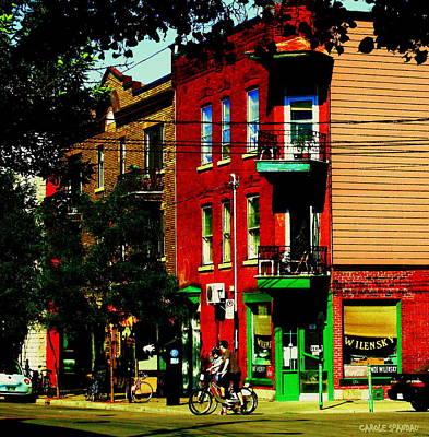 Bicycle Cornerstore Painting - Cyclists Crossing Rue Clark Corner Wilensky Spring Street Scene Montreal Art Carole Spandau by Carole Spandau