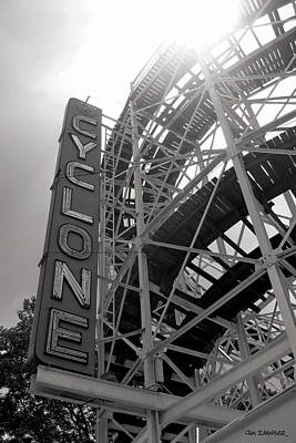 Signed Digital Art - Cyclone Rollercoaster - Coney Island by Jim Zahniser
