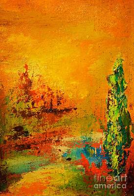 Italian Landscape Painting - Cypress Gold by Jodi Monahan