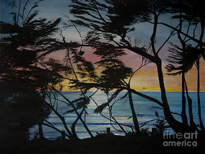Cypress Trees At Sunset Print by Ian Donley