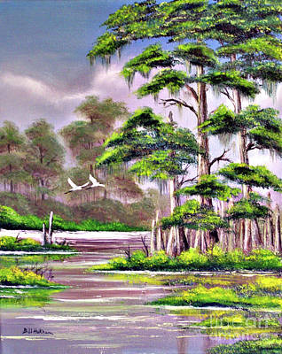 Egret Painting - Cypress Trees-wakulla River Florida by Bill Holkham