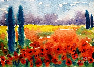Feminin Painting - Cypresses And Poppies by Cristina Stefan