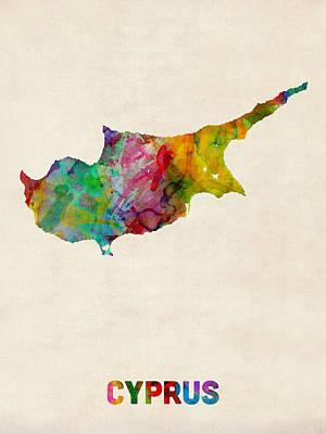 Cyprus Digital Art - Cyprus Watercolor Map by Michael Tompsett