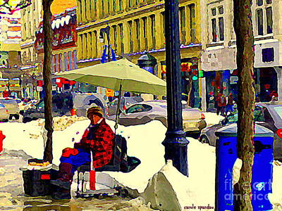 Montreal Winter Scenes Painting - Cyrille The Spoonman Famous Busker Ogilvys St Catherine Street Musician Downtown Scene C Spandau by Carole Spandau