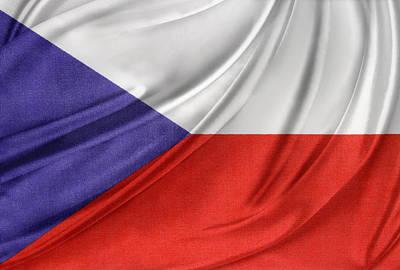 Czech Republic Flag Print by Les Cunliffe